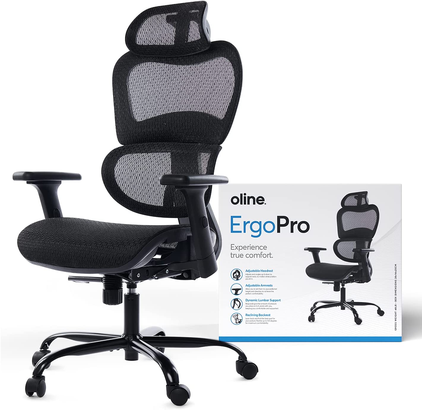 Oline ErgoPro Ergonomic Office Chair - Rolling Desk Chair with 3D Adjustable Armrest, 3D Lumbar Support and Premium Caster Wheels - Mesh Computer Chair, Gaming Chairs, Executive Swivel Chair (Black)