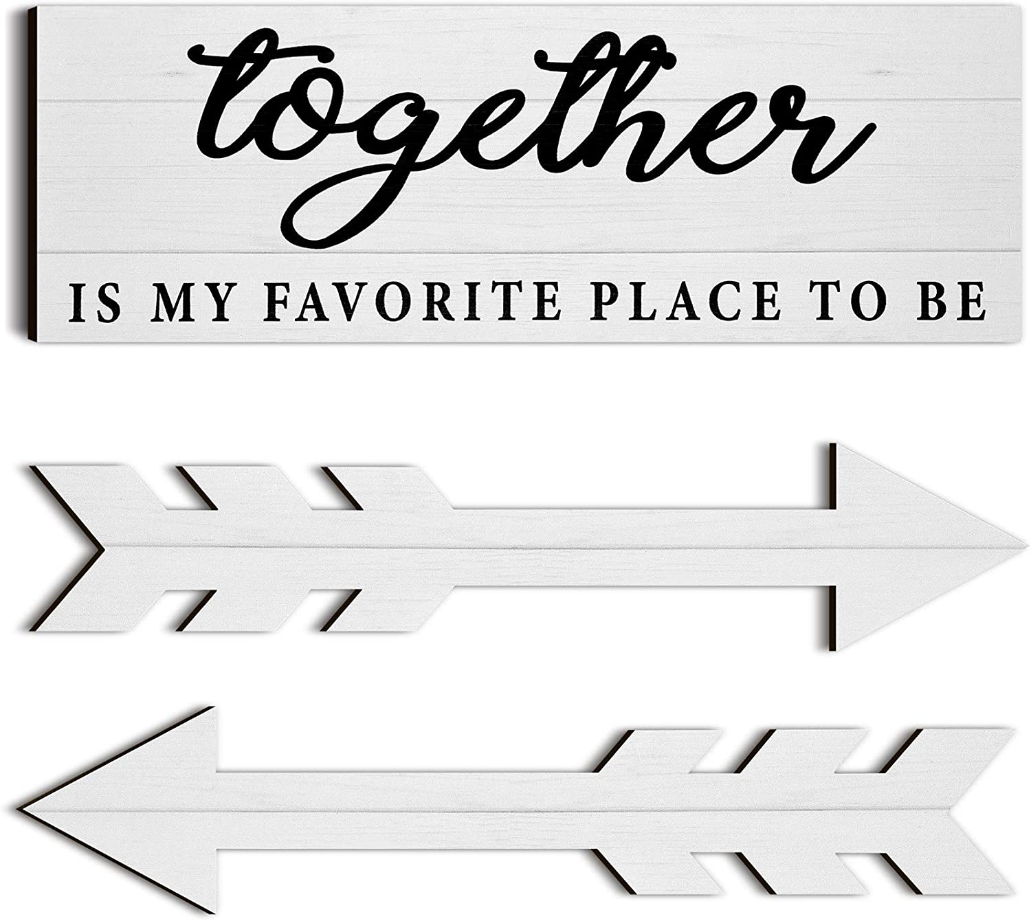 3 Pieces Together Wooden Wall Decor Rustic Wood Sign Farmhouse Wall Printed Sign Wooden Arrow Wall Decors for Living Room, Bedroom, Kitchen, Nursery, Office, Wedding (White)