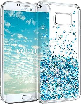 KOUYI Funda Samsung Galaxy S7 Edge, Brillo Liquida Claro 3D Bling Cubierta Flowing Liquid diseño Creativo Cristal TPU Fundas Case Telefono Movil Smartphone Carcasas (Azul Plateado): Amazon.es: Electrónica