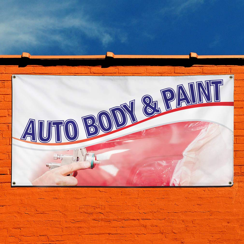 Multiple Sizes Available Set of 3 24inx60in Vinyl Banner Sign Auto Body /& Paint #1 Style B Automotive Marketing Advertising White 4 Grommets