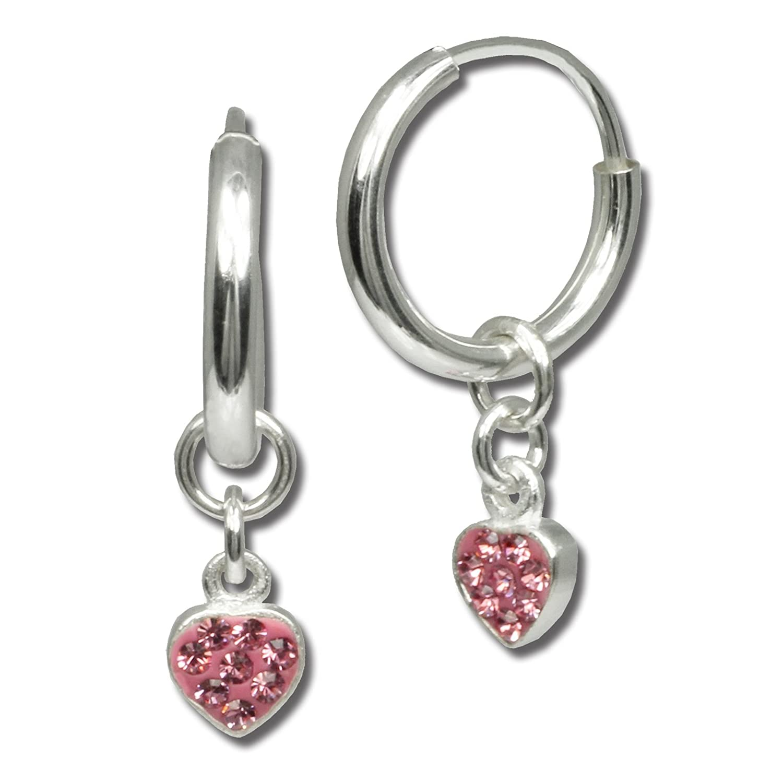 SilberDream Ohrring Kleine Blume Zirkonia rosa 925 Ohrhänger SDO535A