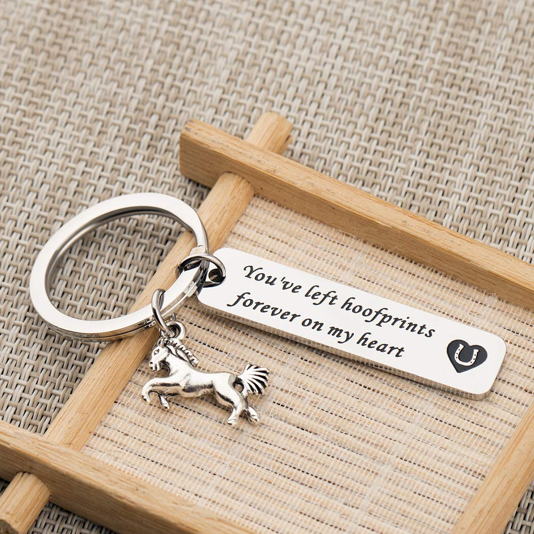 Horse Memorial Jewelry Loss of Horse Sympathy Gift in Memory of Horse Gift You/'ve Left Hoofprints Forever On My Heart Keychain Horse Charm