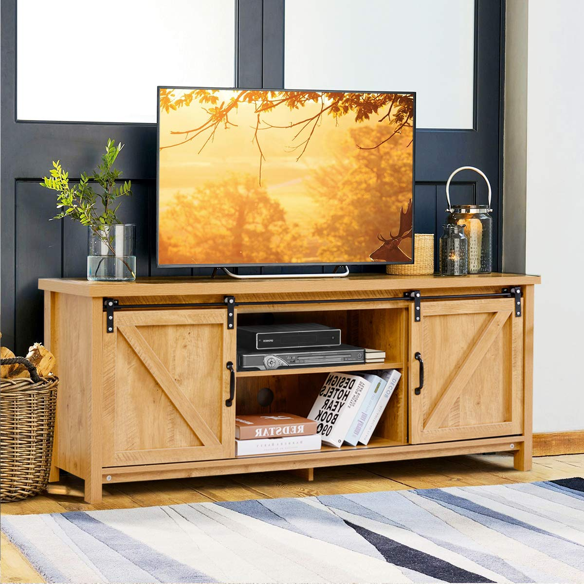 Tangkula TV Stand for 60 Television, TV Ark with Sliding Barn Doors, Wooden TV Cabinet with 2 Center Compartments and 2 Cabinets, Console Storage Table with Cabinet, Natural Design Golden Oak