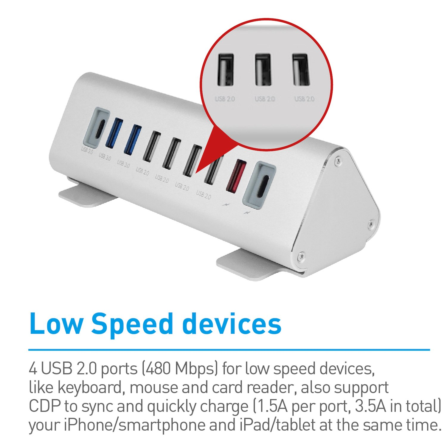 Smart Charging Technology /& Aluminum Triangle Design Universal High-Speed Data Transfer /& Quick Charging Multiport Type C Hub Charger Macally Ultimate 9-Port Powered USB-C Hub /& Charging Station