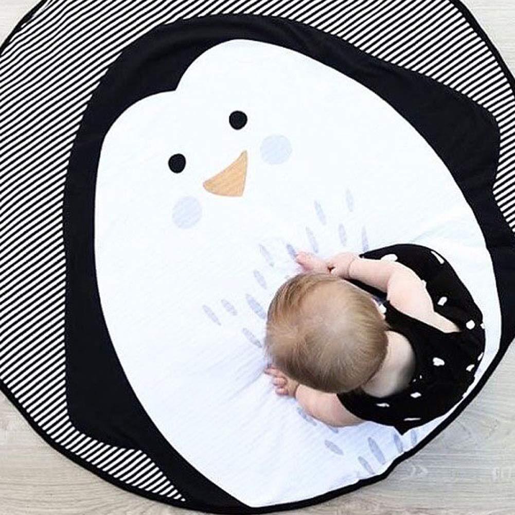 1PC animal de la historieta de impresi/ón Mat redonda del beb/é estera del juego de la estera de arrastre ni/ños antideslizante Dormir Swan