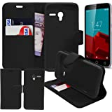 Gadget Giant® Vodafone Smart first 6 Leather Wallet Flip Case Cover Book Style with Screen Protector Film & Retractable Stylus Pen - Black