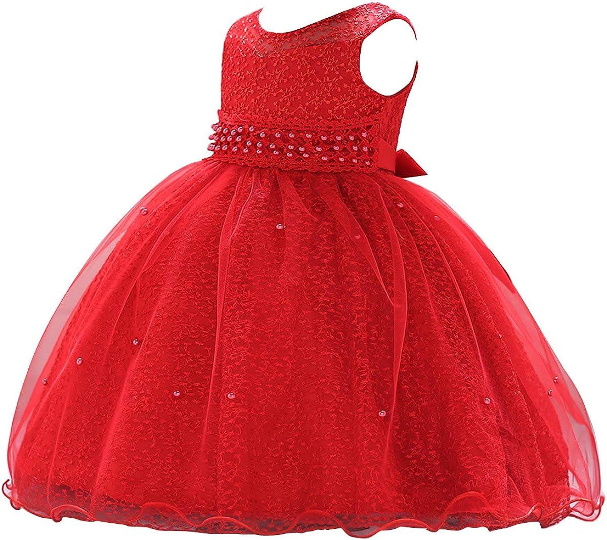 Happy Cherry Abito da Battesimo Bambina Senza Maniche Abito da Principessa per la Cerimonia del Vestito da Festa di Compleanno 3-24 Mesi