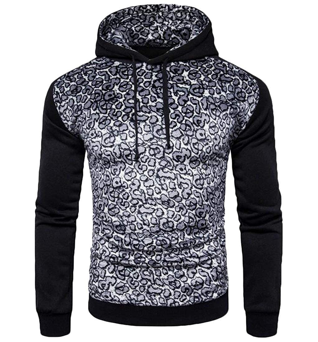 XiaoTianXinMen XTX Mens Casual Active Leopard Print Hooded Zip Up Hoodie Sweatshirts