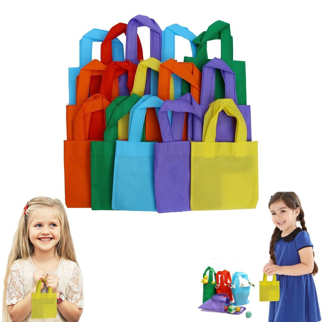 Party Favor Tote Gift Bags with Handles - Polyester Non-Woven Material, 24 Pack, Assorted Bright Colors - by Dazzling Toys