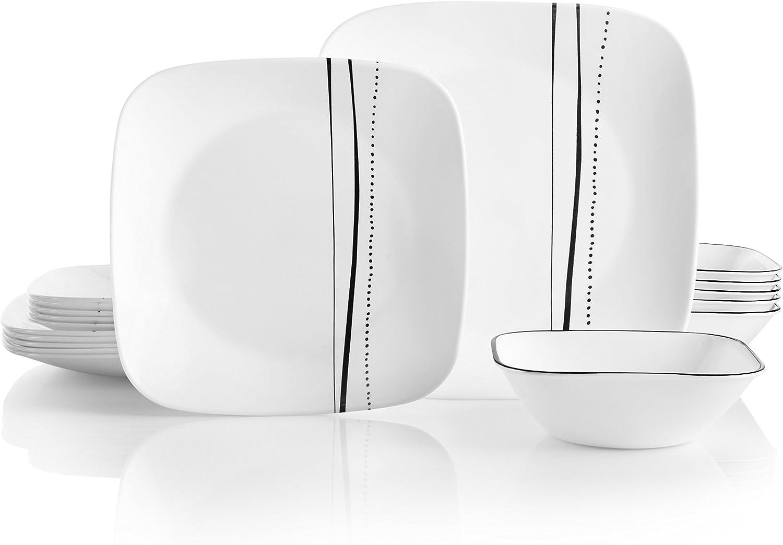 Corelle Service for 6, Chip Resistant, Cascading Lines Dinnerware Set, 18-Piece