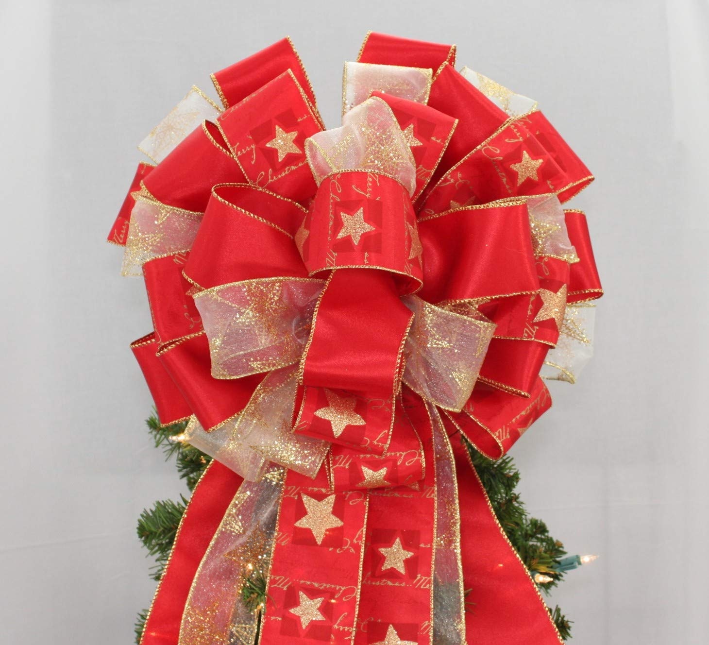 Red Gold Star Christmas Tree Topper Bow - 13