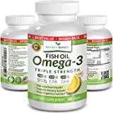Best Triple Strength Omega 3 Fish Oil Pills - 180 Capsules - 2500mg High Potency Burpless Lemon Flavor 900mg EPA 600mg…