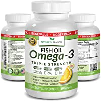 Best Triple Strength Omega 3 Fish Oil Pills - 180 Capsules - 2500mg High Potency...