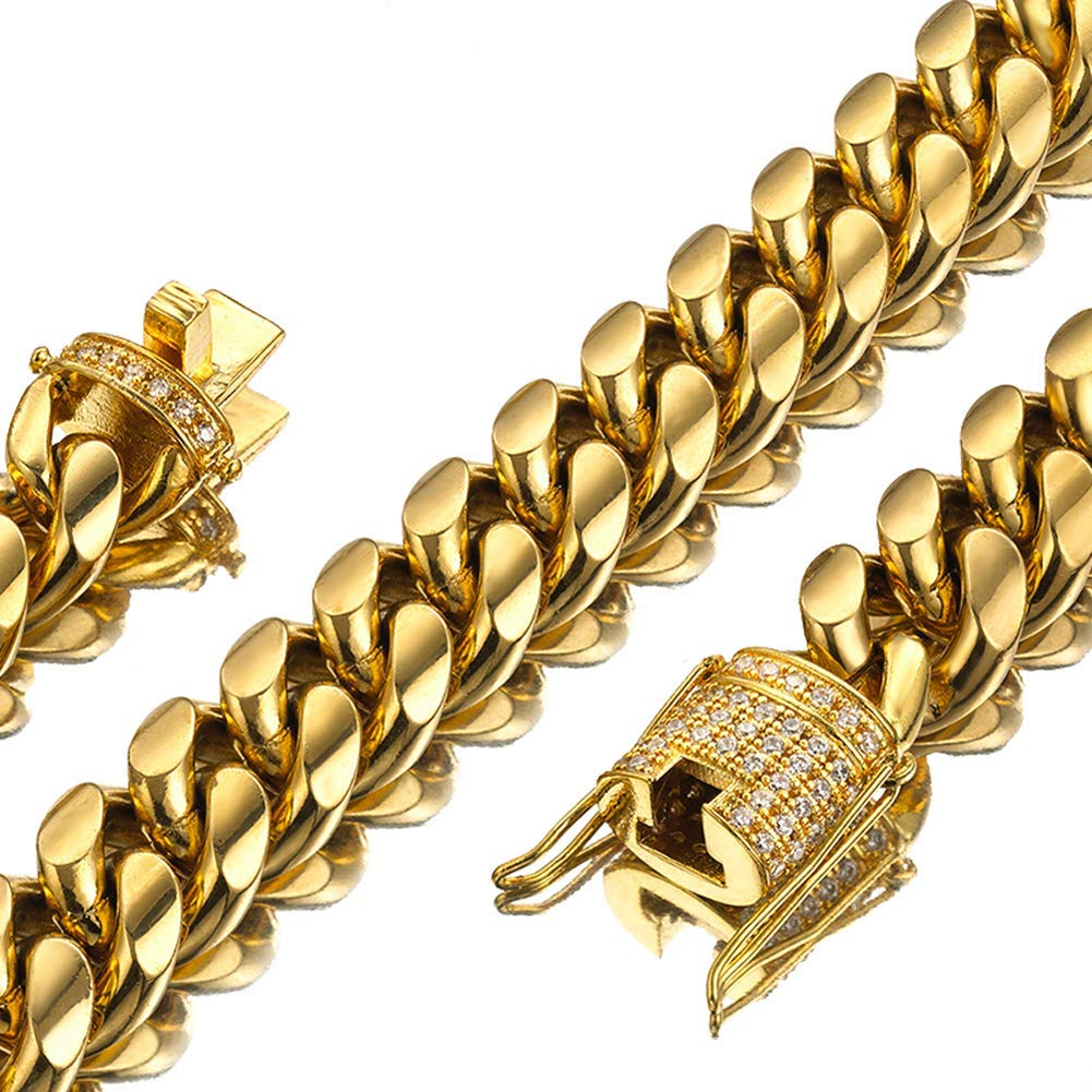 Jxlepe Mens Miami Cuban Link Chain 18K Gold 15mm Stainless Steel Curb Necklace with cz Diamond Chain Choker (30)
