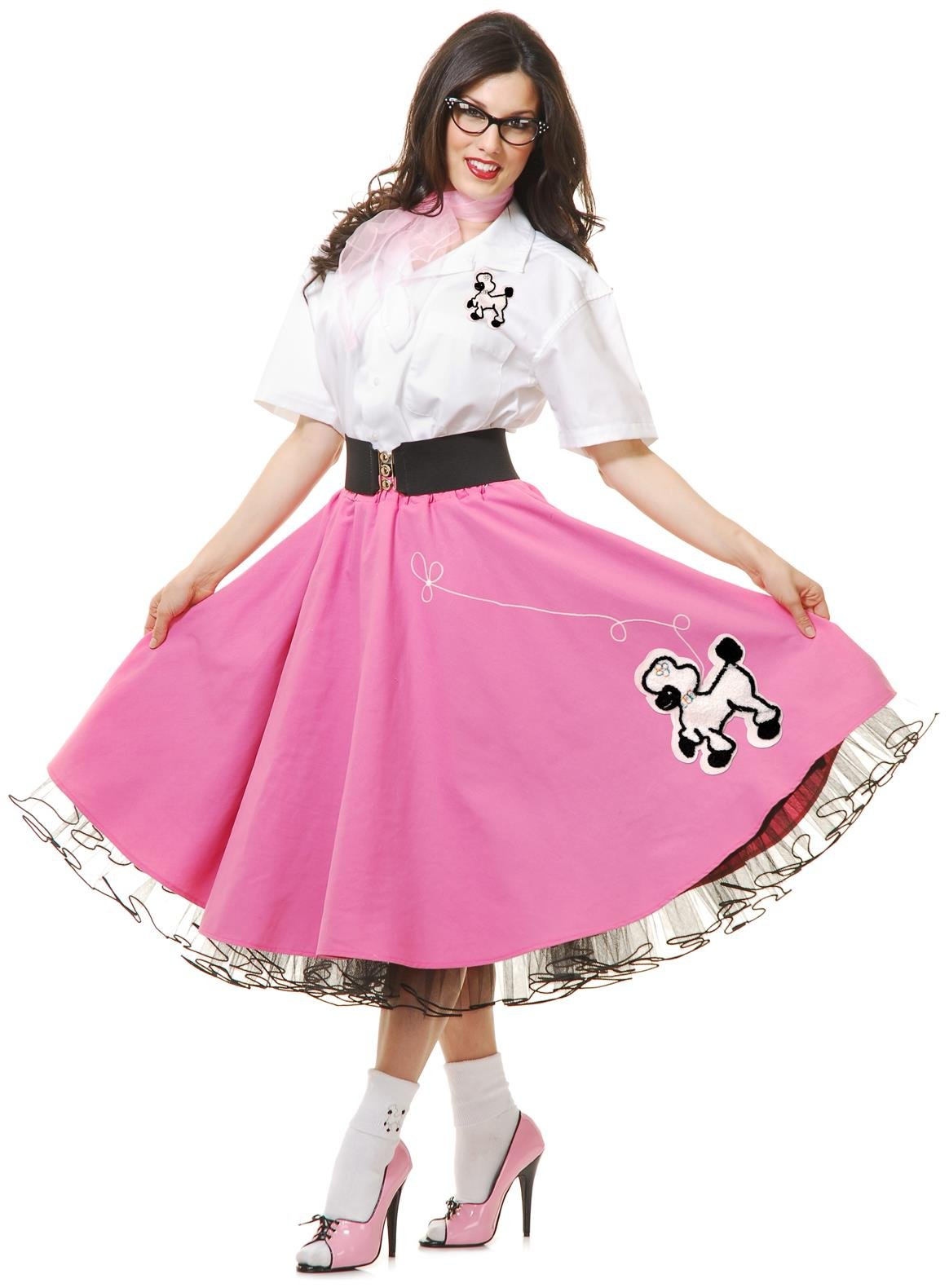 Complete 50's Poodle Outfit Adult Costume Pink - Medium