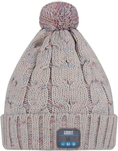 August EPA30 Bluetooth Headphone Cable Knit Hat – Ideal for Gadget Lovers Beige