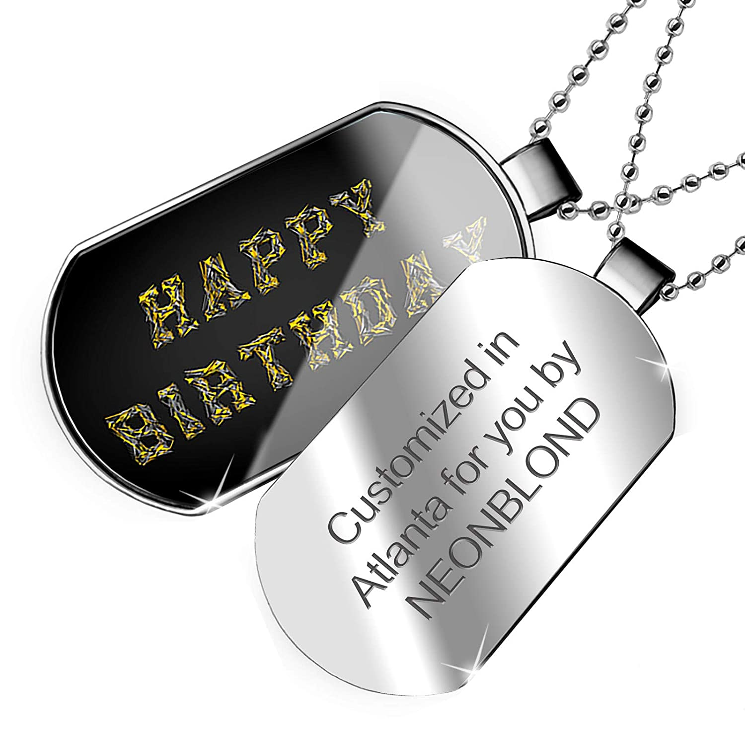 NEONBLOND Personalized Name Engraved Happy Birthday Modern Art Design Dogtag Necklace
