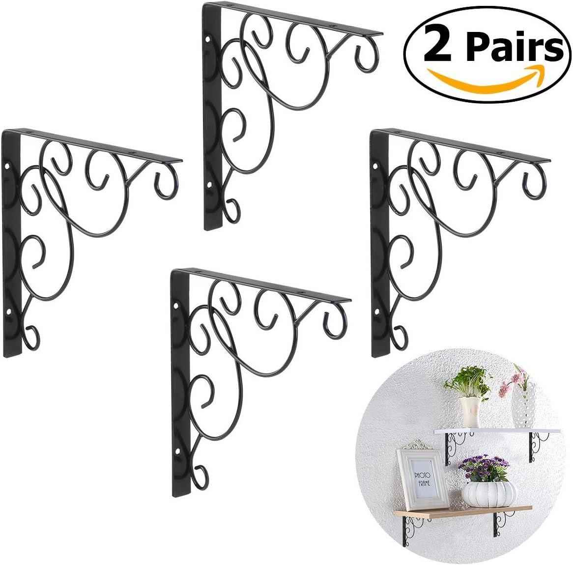 WINOMO 4//équerres pour /étag/ère noir /équerres /à motif floral pour /étag/ère murale