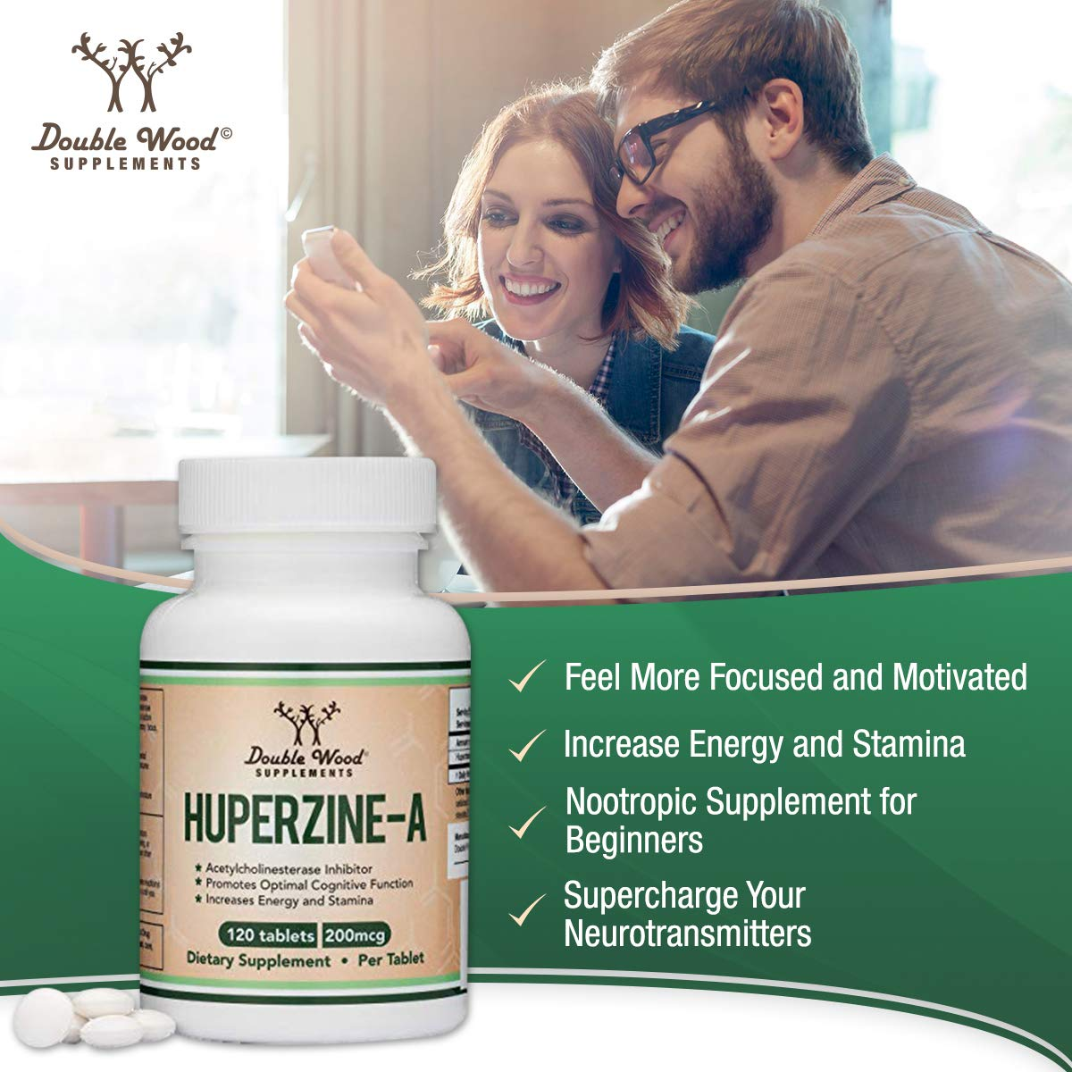 Huperzine A 200mcg (Third Party Tested) Made in The USA, 120 Tablets, Nootropics Brain Supplement to Boost Acetylcholine, Improve Memory and Focus by Double Wood Supplements by Double Wood Supplements (Image #5)