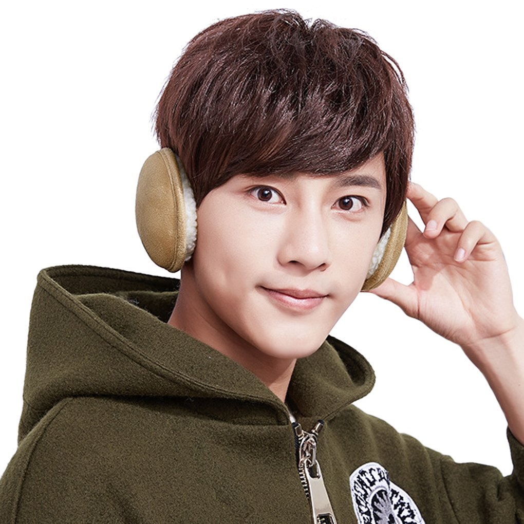 Unisex Earwarmer Knit Cashmere Plush Fleece Ear Cover Winter Foldable Earmuffs Behind Head