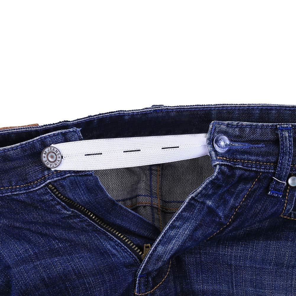 BonTime 6pcs Starke justierbare elastische Extender mit 3 Kn/öpfen Haken Slots f/ür Hosen Jeans Kleid