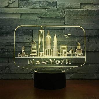 Edificio de la ciudad de Nueva York, luz de noche en 3D, lámpara ...