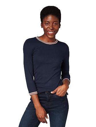 modische Muster billig werden schön billig TOM TAILOR Denim Damen Langarm Shirt mit Contrast Streifen Am Ärmel und  Ausschnitt Langarmshirt