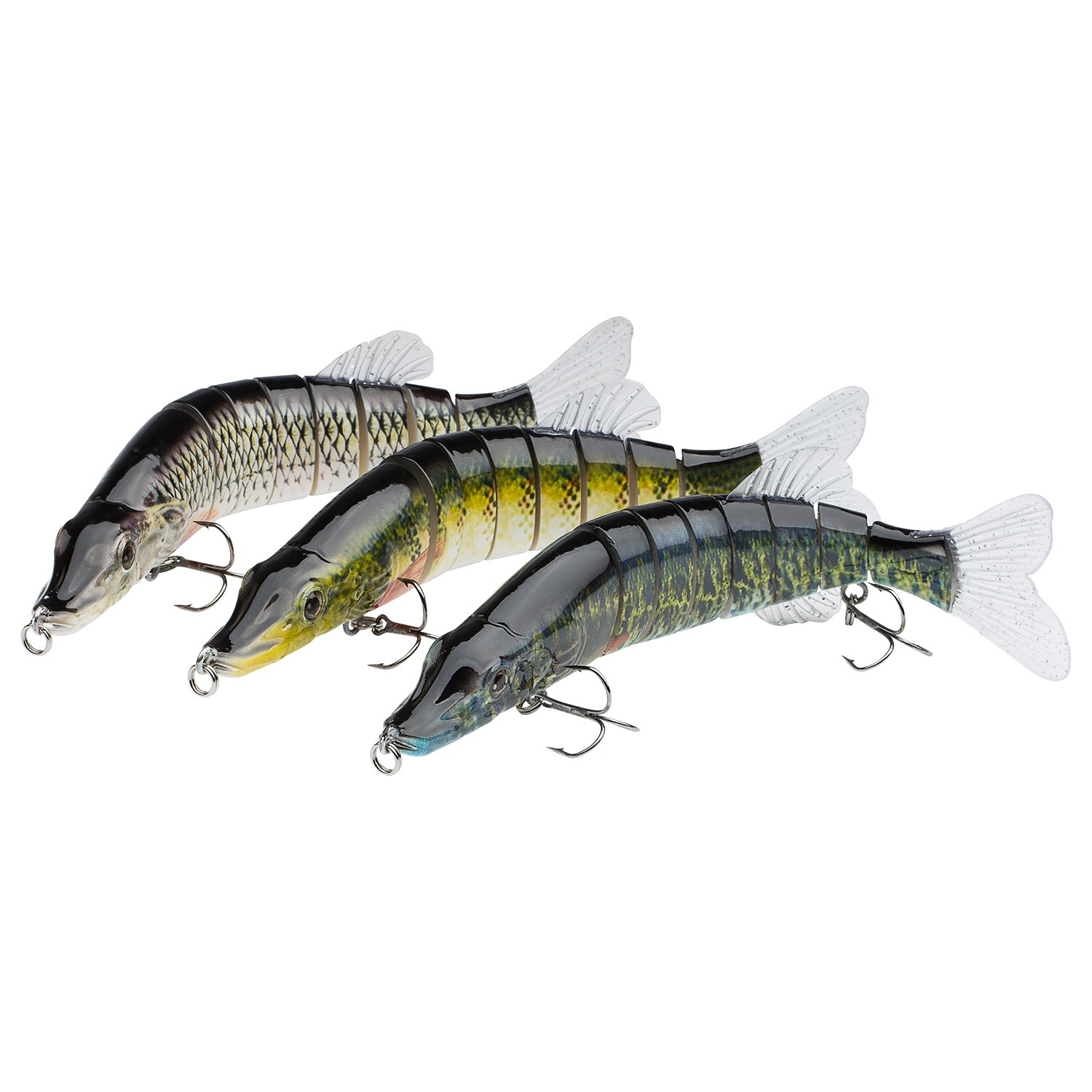Bassdash Swimpike Multi Jointed Swimbaits Bass Fishing Lure Hard Body Soft Fins 8'' 2-1/2oz, 4 Colors, Pack of 3 Colors (SBS)