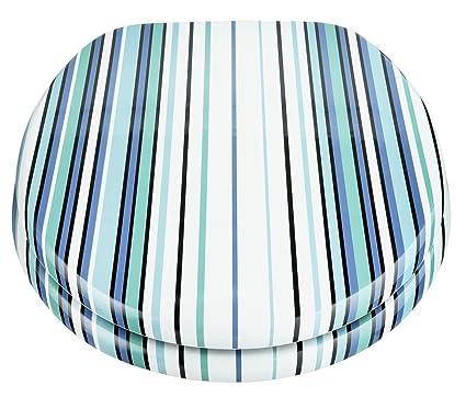 Peachy Home Stripe Toilet Seat Blue And Aqua Short Links Chair Design For Home Short Linksinfo