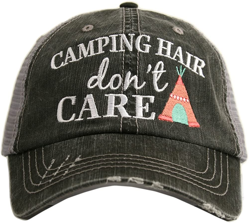 Katydid Camping Hair Don't Care Women's Trucker Hat