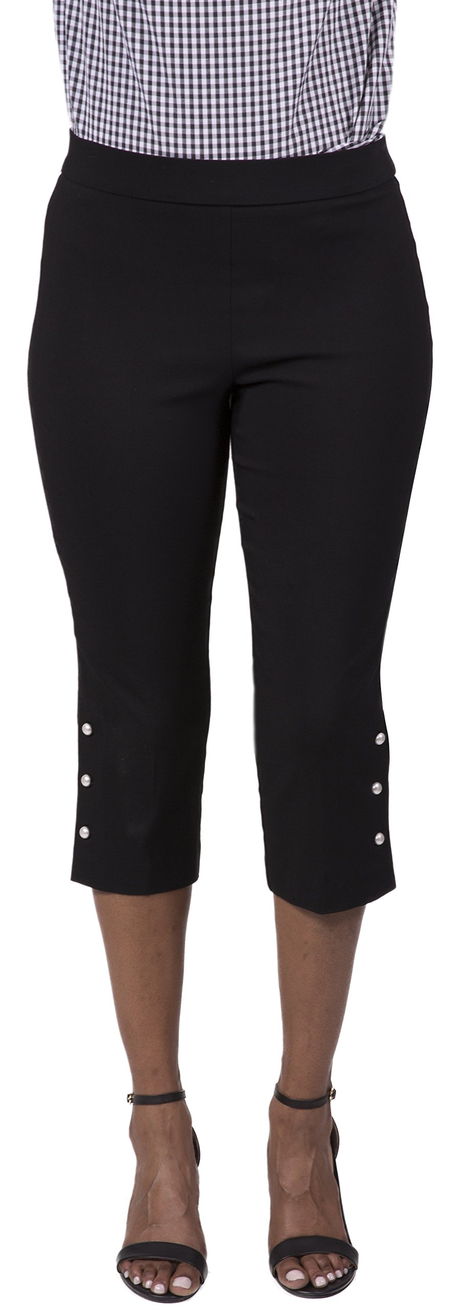 Fundamental Things Women's Easy Pull-On Crop Pant with Button Detail and Slimming Sensations Fabric, Black, Size 8