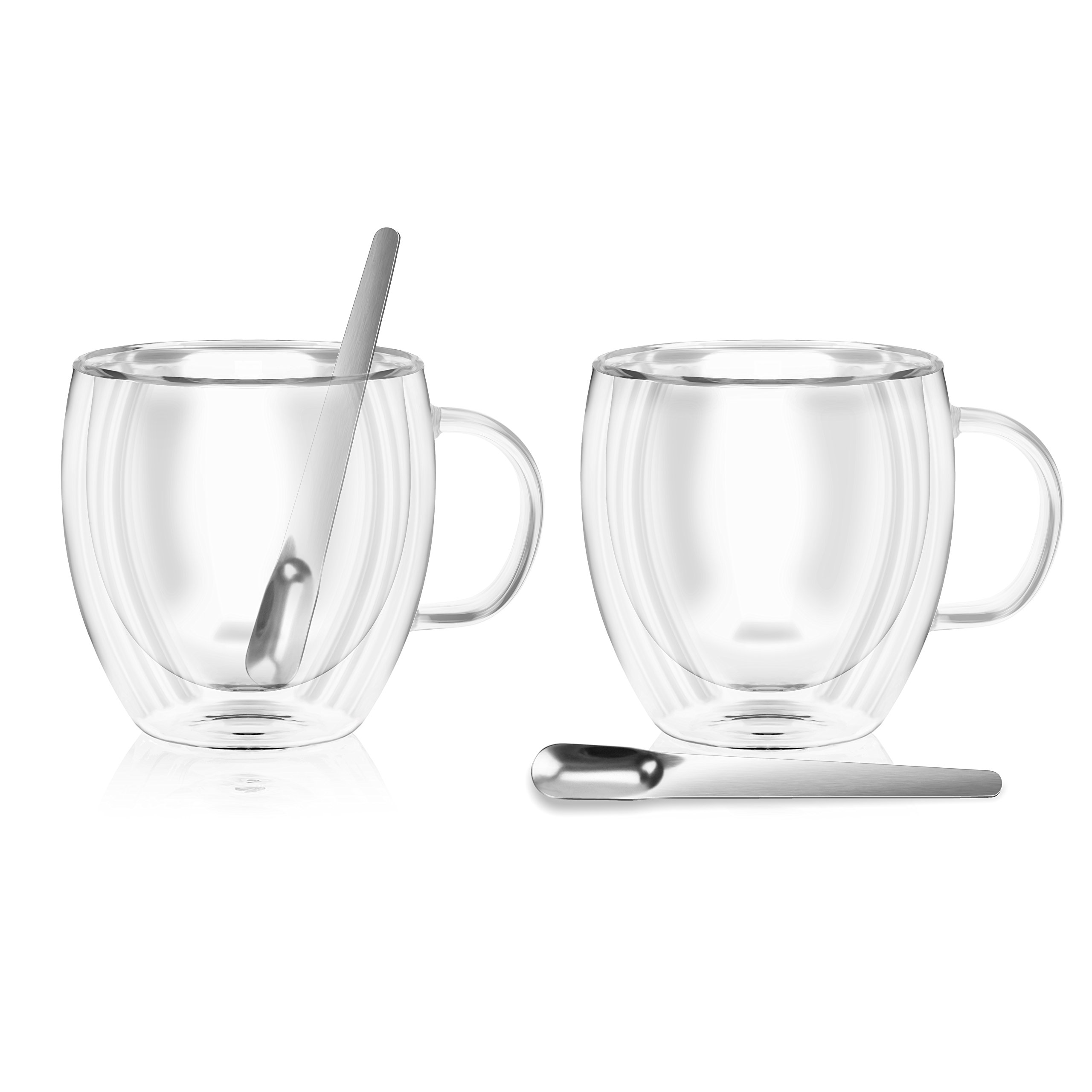 Double wall insulated glass Espresso mugs, 5.4 Ounces (set of 2 + 2 spoons)