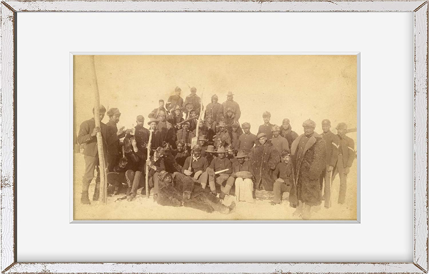 Fort Keogh // Chr Location: Fort Keogh Montana Barthelmess 1890 Photo Buffalo soldiers of the 25th Infantry, some wearing buffalo robes, Ft. Keogh, Montana Montana photographer