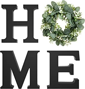 Wood Home Sign for Wall Decor Wooden Home Letters with Wreath Artificial Eucalyptus Modern Decorative Hanging Home Letters Decor Farmhouse Home Sign for Living Room Kitchen Entryway, Housewarming Gift
