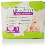 Happy Little Camper Ultra Absorbent Premium Natural Nappies, Crawler, Size 3 (7-13 kg), 31 Count