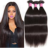 Longqi Beauty Top Quality Brazilian Virgin Straight Hair 3 Bundles Remy Silky Straight Hair Weave (18 20 22inch, Natural Color)