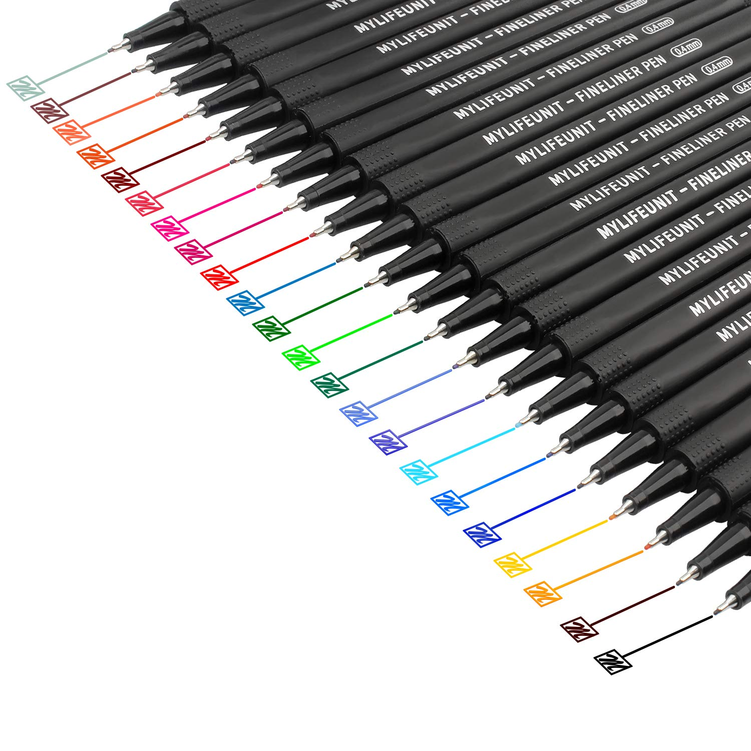 MyLifeUNIT Fineliner Color Pen Set, 0.4mm Colored Fine Liner Sketch Drawing Pen, Pack of 22 Assorted Colors