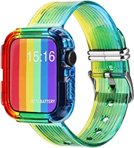 dkplnt 42mm 44mm Rainbow Compatible Apple Watch Band Pride LGBT Clear TPU Soft Protective Case with Bands for iWatch Series 6 5 4 3 2 1 Sport Strap