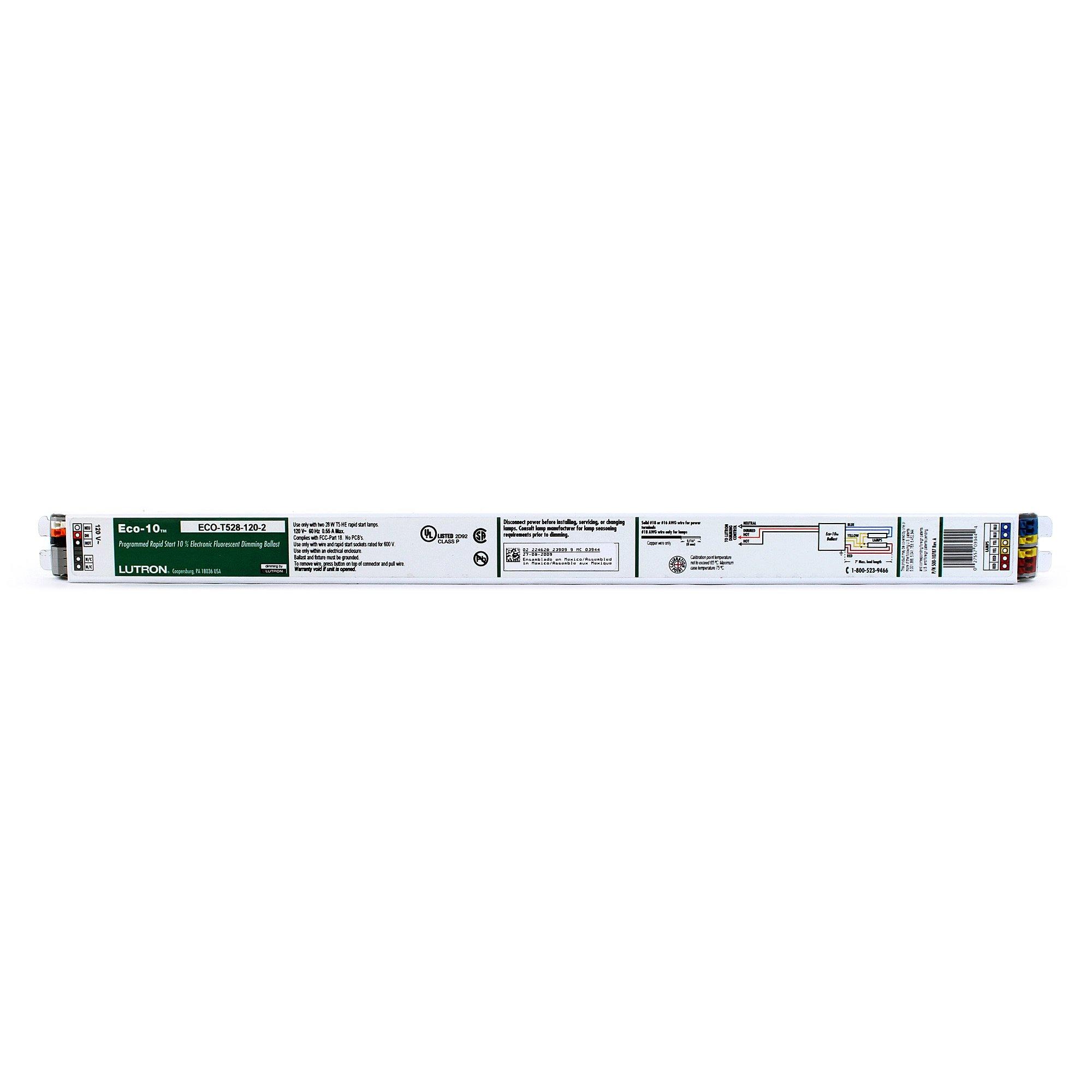 Lutron ECO-T528-120-2 - 120 Volt - Dimmable - Programmed Start - Ballast Factor 1.0 - Power Factor 95 - Min. Temp. Rating 50 Deg. F - Operates 2 F28T5 Fluorescent Lamps