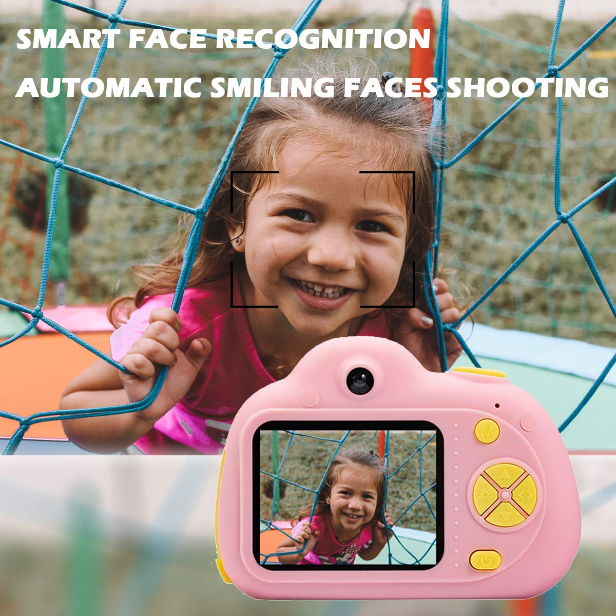 KIDOVE Kids Toys Fun Camera, Waterproof & Shockproof Child Selfie digital game Camcorder, 8MP 1080P dual camera Video Recorder, Creative Birthday Gifts for girls and boys, 16GB TF Card Included (Pink) by KIDOVE (Image #4)