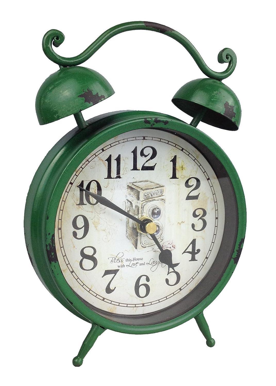 GMMH Table clock, nostalgia antique vintage retro metal floor clock, alarm clock design (cream 54-7)