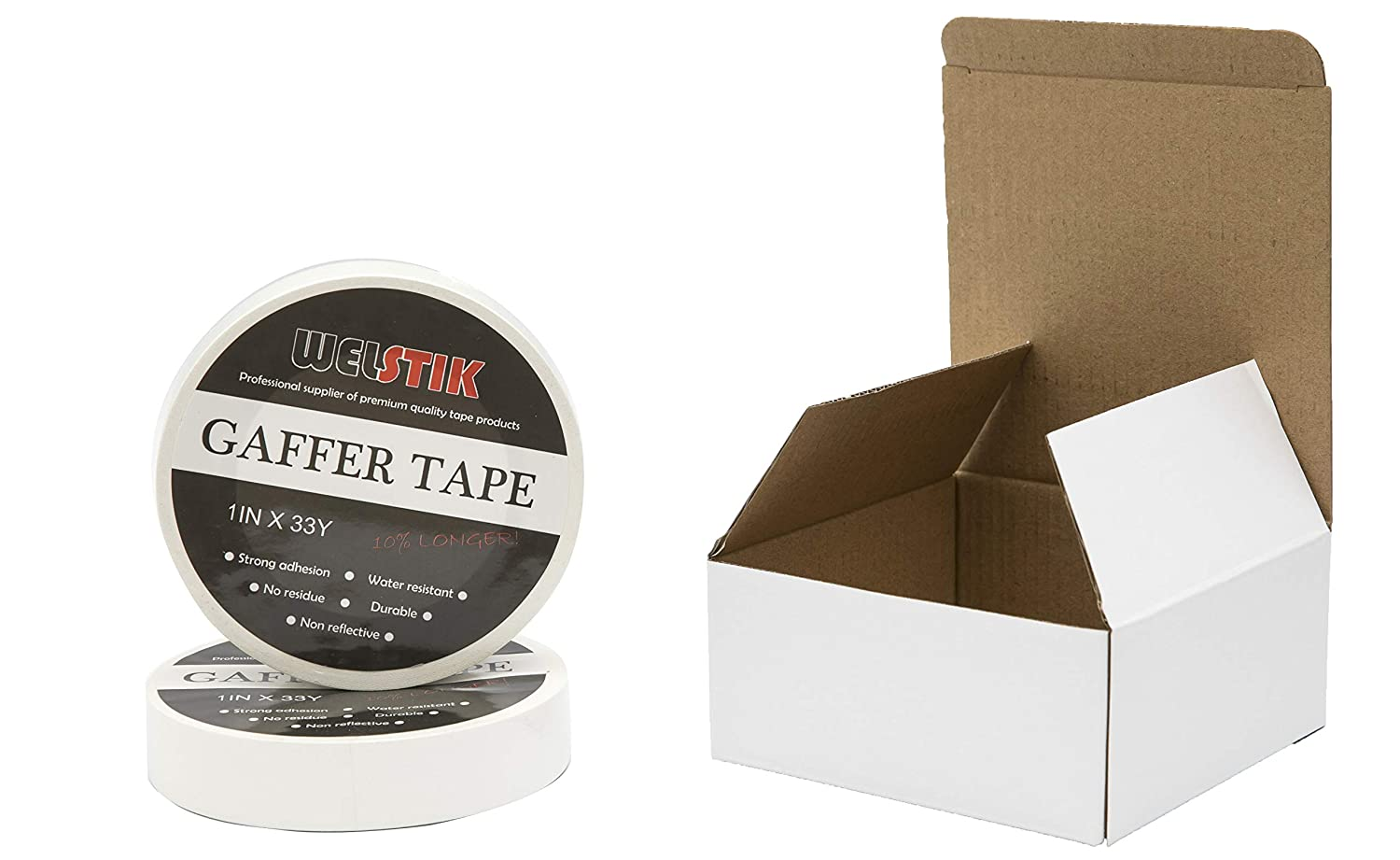 Bug Holes,Non-Reflective Easy to rip Heavy Duty Gaffer Floor Tape for Hockey Sticks Wall Cracks Welstik Tape 1 Pack Gaffer Tape White,1X 60 Yards-60 Yards Length-Suitable for DIY Projects
