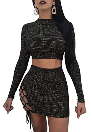 ddf69efbb52b Bluewolfsea Womens Sexy Lace Up Long Sleeve Bodycon Mini Dress Party Club  Outfit 2 Piece Skirt
