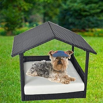 Amazon.com: LEAPTIME Cama de mimbre para mascotas al aire ...