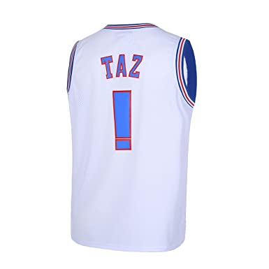 3e7ee7547e26 Amazon.com  TUEIKGU Taz  ! Space Movie Jersey Mens Basketball Jersey S-XXL  White Black  Clothing