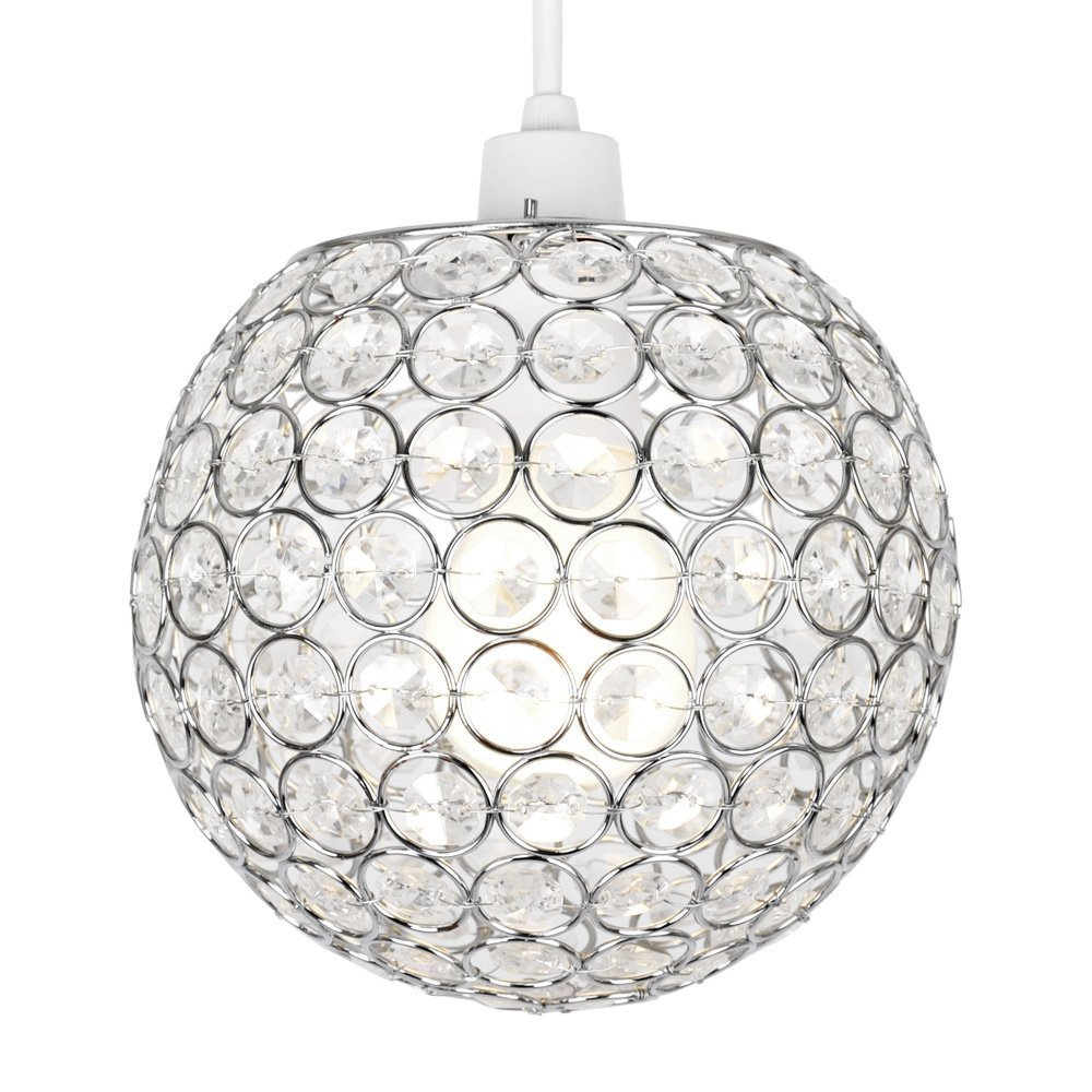 Modern Chrome Globe Ceiling Light Shade with Acrylic Crystal Effect Jewels 7th-ave
