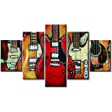 """Guitar Wall Art Abstract Artwork Music Canvas Prints Art Home Decor for Living Room Bedroom Modern Still Life Pictures Gift 5 Panel Large Posters HD Printed Painting Framed Ready to Hang(60""""Wx32""""H, a)"""