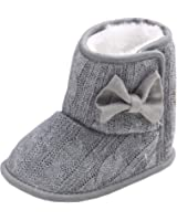 Annnowl Baby Snow Boots Knitted Crib Shoes with Bow 0-18 Months (12-18 Months, Grey)