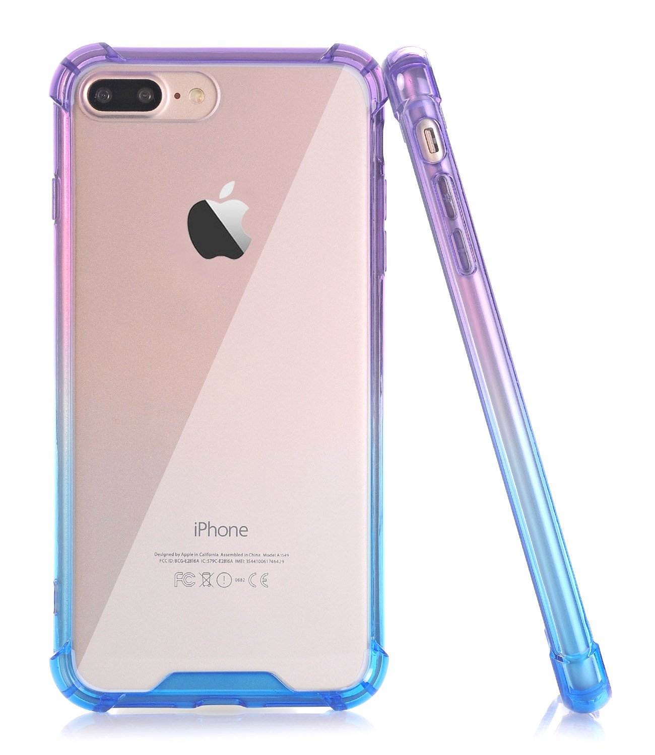 huge selection of 43f6d 5b966 BAISRKE Blue Purple Gradient Slim Shock Absorption Protective Case Soft TPU  Bumper & Hard Plastic Back Cover Phone Cases for iPhone 7 Plus & iPhone 8  ...