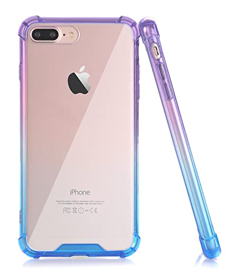 vasta selezione di b687f b54c0 BAISRKE Blue Purple Gradient Slim Shock Absorption Protective Case Soft TPU  Bumper & Hard Plastic Back Cover Phone Cases for iPhone 7 Plus & iPhone 8  ...